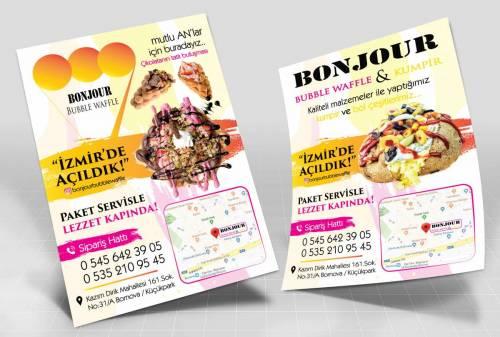 bonjour waffle brosür cafe broşür baskı