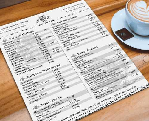 twin coffee menü forex baskı a4 menü a5 menü cafe menü